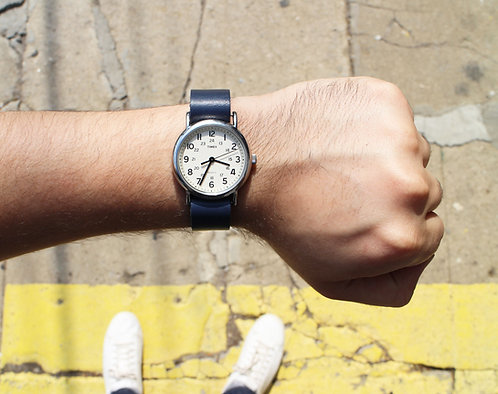 Blue Leather Timex Weekender Watch Strap