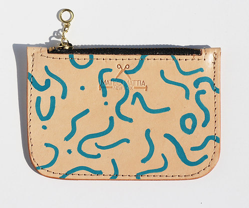 Leather zippered pouch - Blue Squiggle