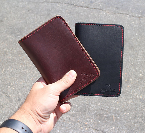 'Black & Mahogany' Leather field notes / passport case