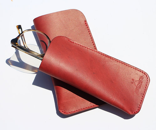 Red Leather glasses sleeve