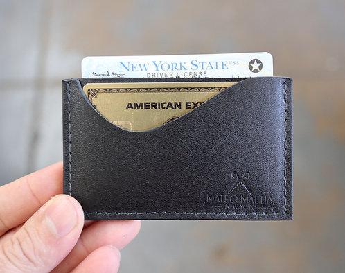 Mini Leather Card Wallet - Black
