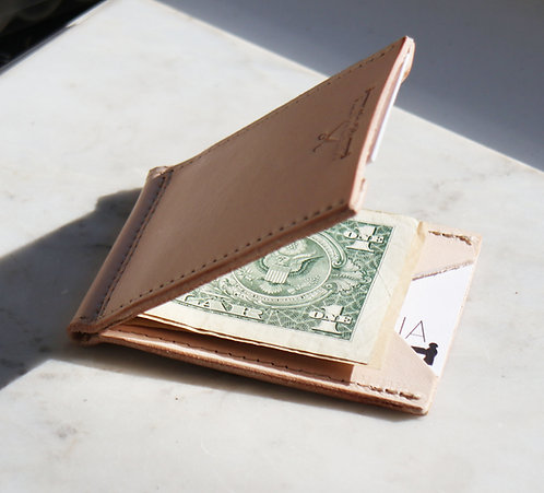 Money clip wallet - Veg Tan