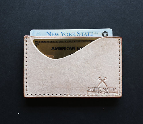 Mini Leather Card Wallet - Natural Vegetable tan