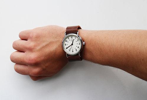 Brown leather Timex weekender watch strap