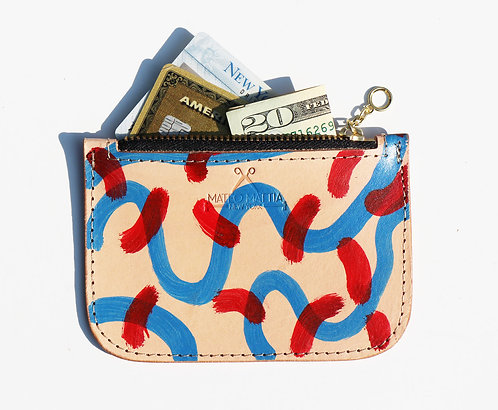Leather Zipper Pouch - Blue & Red pattern