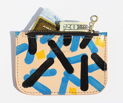 Leather zippered pouch - Blue Black Yellow