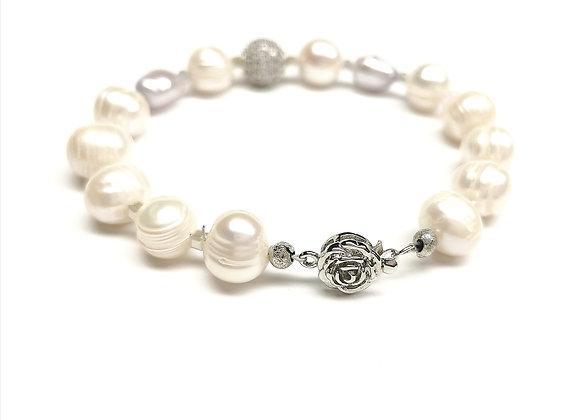 Natūralių perlų apyrankė su cirkoniu