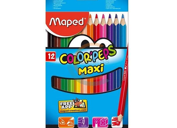 Spalvoti pieštukai ColorPeps Maxi, MAPED 12sp. naudojimui nuo 2 metų