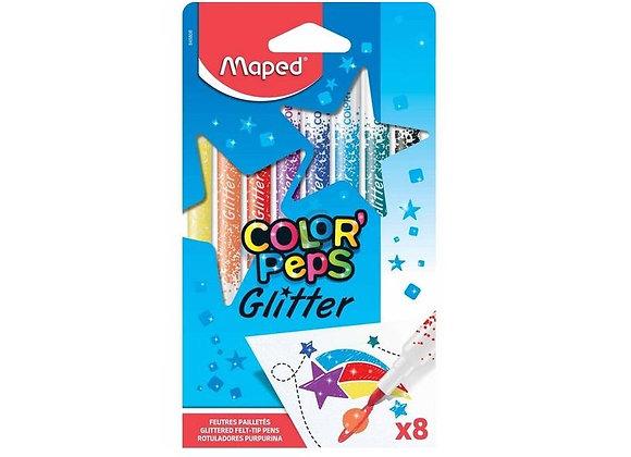 Flomasteriai MAPED Glitter 8 sp.
