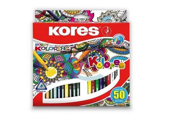 Spalvoti pieštukai KORES 50 sp. tinka meno terapijai