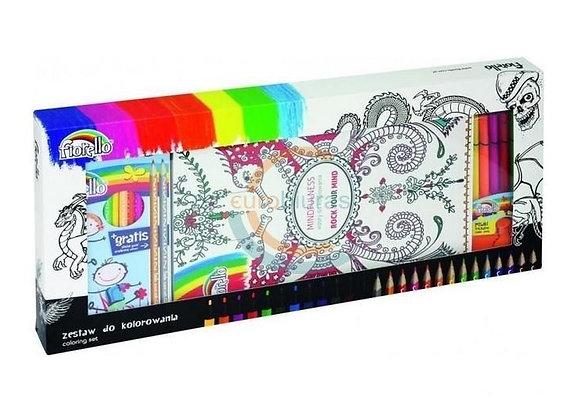 Rinkinys spalvinimo knygelė - meno terapija, sp.pieštukai, flomasteriai
