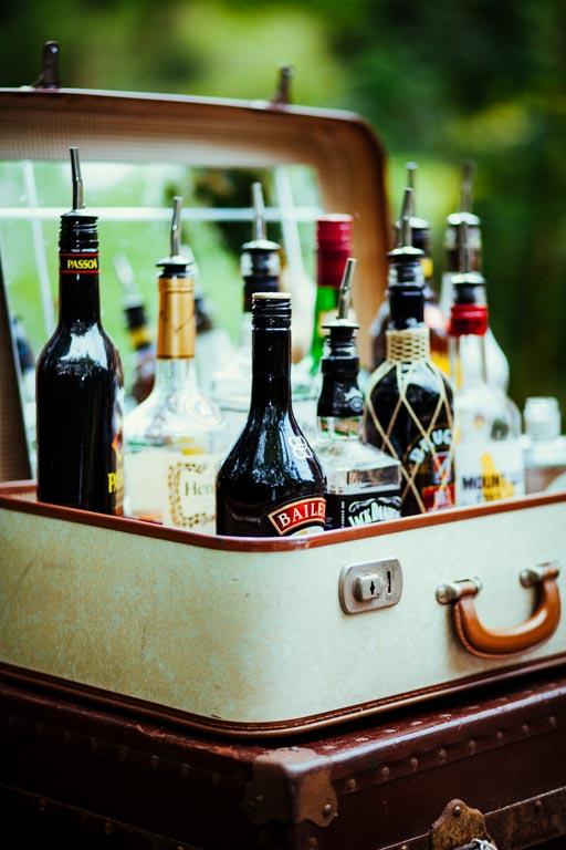 Spirit Bottles in Vintage Suitcase
