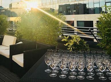 Empty Glasses in Rooftop Terrace Party