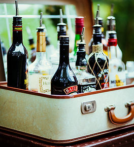 Spirit Bottles in Vintage Suitcase