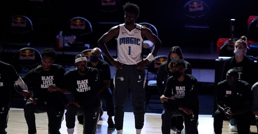 A man with remarkable courage to stand up (literally!) for what he believes about racism: Jonathan Isaac of the Orlando Magic