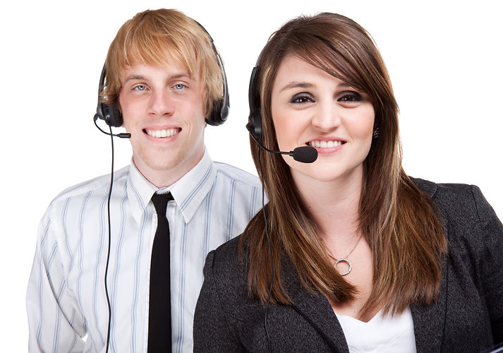 Two young customer service or sales peop