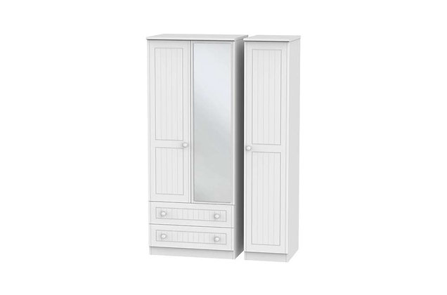 Welcome Bedroom Warwick 2 Large Drawer Triple Wardrobe with Mirror