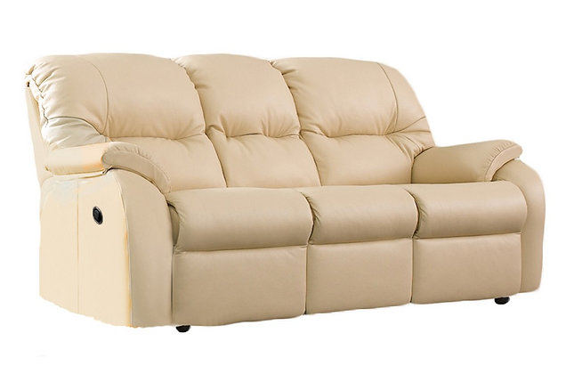 G Plan Mistral Leather Double Manual 3 Seater Recliner Sofa