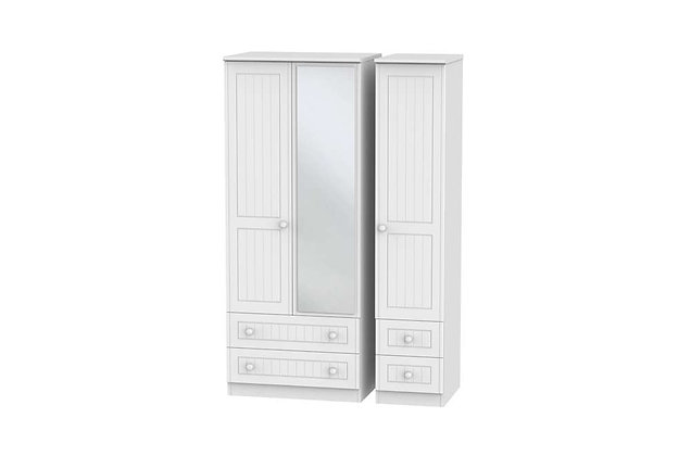 Welcome Bedroom Warwick 4 Drawer Triple Wardrobe with Mirror