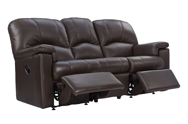 G Plan Chloe Leather Double Manual 3 Seater Recliner Sofa