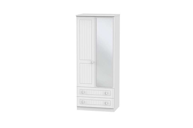 Welcome Bedroom Warwick 2ft6in 2 Drawer Wardrobe with Mirror