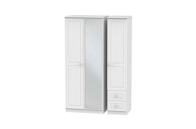 Welcome Bedroom Warwick 2 Small Drawer Triple Wardrobe with Mirror