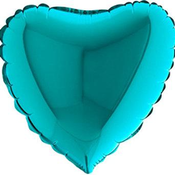 Ballon message coeur - aqua