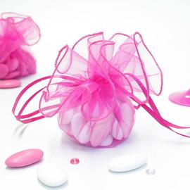 Tulle à dragées baptême rose