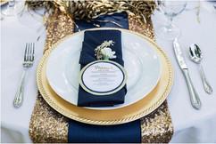 mariage bleu marine or