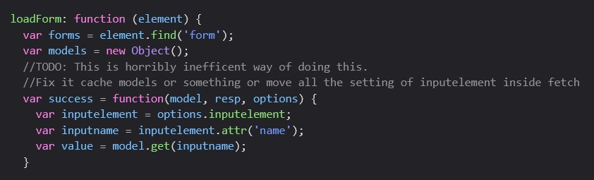 Coding comments stating dissatisfaction/uncertainty with the code.