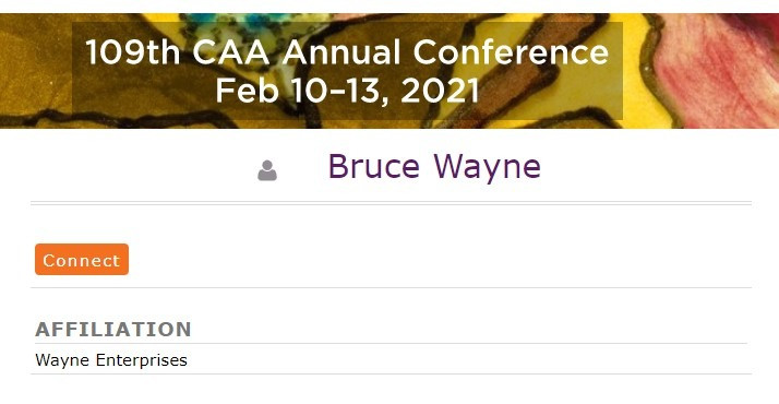 """Image showing test profile page titled """"Bruce Wayne"""" on CAA website."""