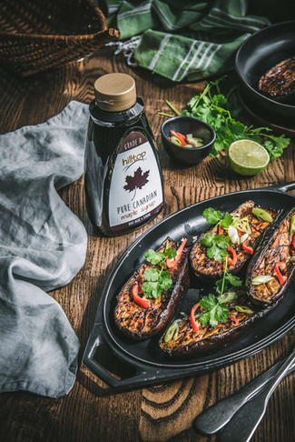 Honey and miso aubergines