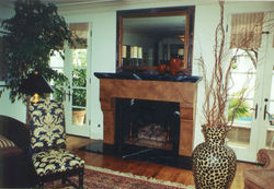 faux leather fireplace w/faux marble