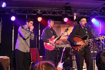 Bob Corritore, Billy Flynn, John Primer at Lucerne, Switzerland Blues Fest photo: Jennifer Noble