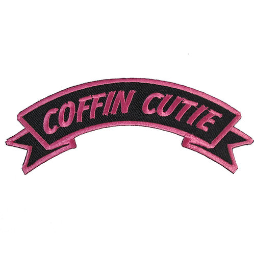 666 Pink Coffin Cuttie Iron On Patch Rockabilly Punk Pin Up