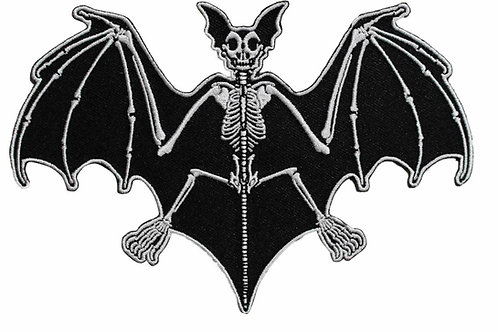 Skelli Bones Bat Embroidered Iron On Patch - Vampire Gothic 039-A