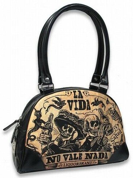 Liquor Brand Viva la Vida Skeletons Punk Gothic Bowler Bag Purse LB-BBW-00035