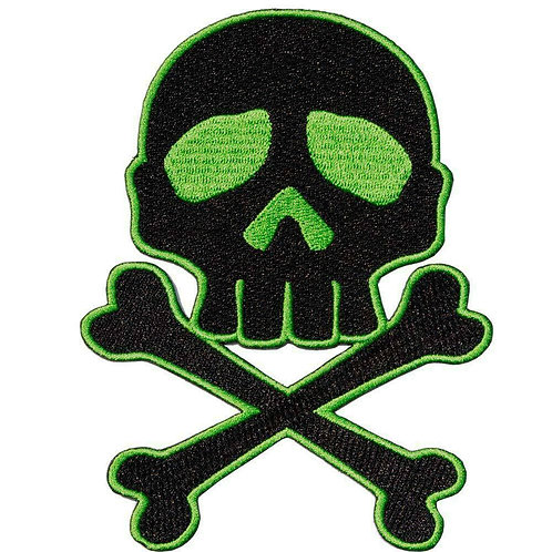 Skull N Crossbones Green Black Patch