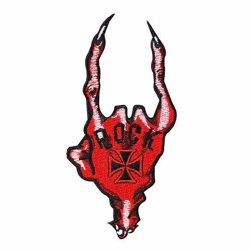 "Demon Hand ""Rock"" Devil Horns Patch Kreepsville 666 Evil Ward Iron-On Applique"