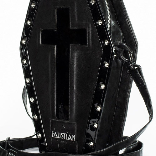 Shinning black patent cross vegan leather coffin bag