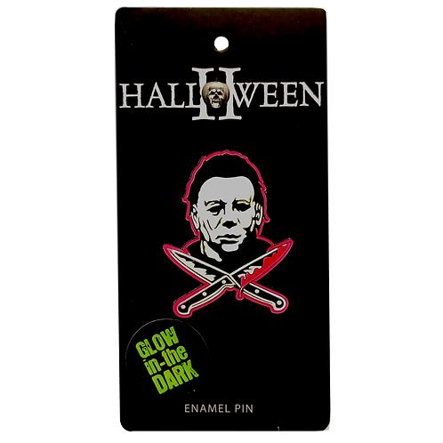 Halloween II Pins Crossed Knives Rock Rebel Glow in Dark