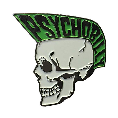 Psychobilly Skull Boy Green Enamel Pin by Kreepsville