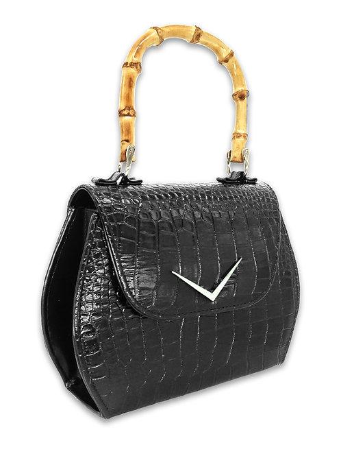 Vintage Classic bamboo handle purse. Crocodile edition