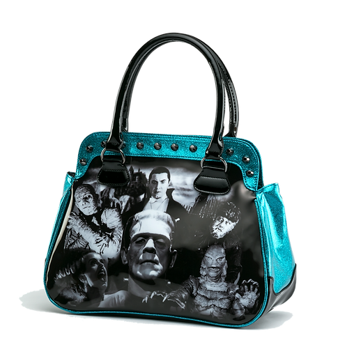 Universal Monsters Collage Mummy Wolfman Frankenstein Handbag UMHB25-BLUEGLITTER
