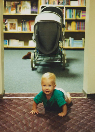 Baby Emile cruising the Levin & Company Children's Room in 1994