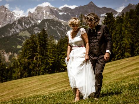 Hochzeit auf der Jufenalm - Trauung mit Bergblick