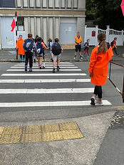 Children doing road patrol.