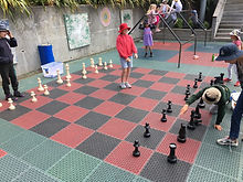 Integrated chess board on the middle court.