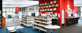 Library collection upstairs within our modern learning enviromnent