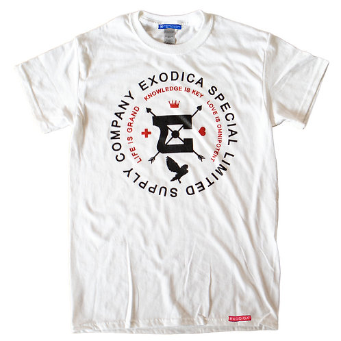 Round up T-shirt - white, black, red